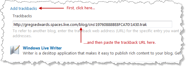 Adding a trackback URL to your blog post