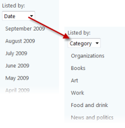 List content by date or category
