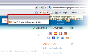Accessing the RSS feed on the main page of a Windows Live Space