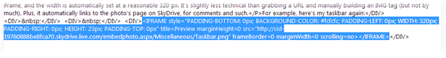 Inserting the embed code