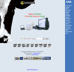 Gateway 2000 website, circa December 1996