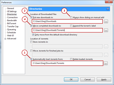 Configuring uTorrent preferences