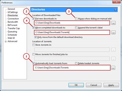 Configuring uTorrent preferences